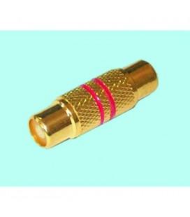 Conexión adaptador RCA hembra a RCA hembra dorado rojo