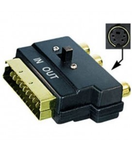 Adaptador euroconector a 3 RCA interruptor dorado