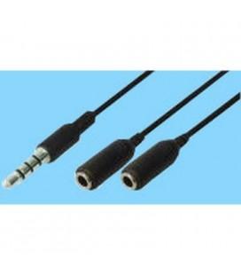 Cable audio 3,5mm st m - 2X3,5mm st h, 0,2m color negro. Válido para Iphone