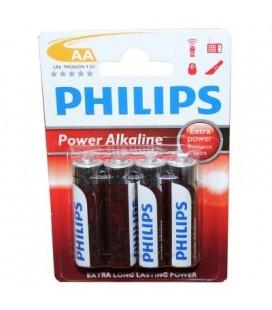 Pila alcalina Philips modelo LR06, 4 unidades