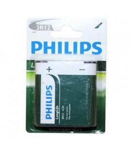 Pila alcalina Philips modelo 3R12 petaca