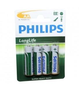 Pila salina Philips Modelo LR06, 4 unidades