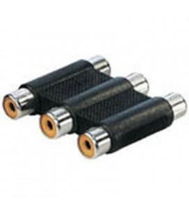 Adaptador conexión tipo 3 RCA hembra a 3 RCA hembra