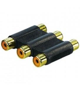 Adaptador conexión 3 rca hembra a 3 rca hembra dorado