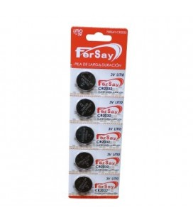 Pila botón Fersay formato CR2032 litio, 5 unidades
