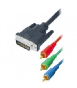 Cable tipo DVI macho 24+5 pin a 3 RCA macho, 1 metro