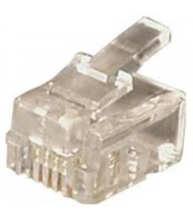 Conector teléfono RJ12 6/6 cable plano