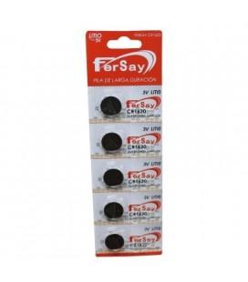 Pila botón litio formato CR1620 Fersay, 5 unidades