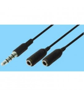Cable audio 3,5mm st m - 2X3,5mm st h, 0,2m color negro. Válido para Iphone
