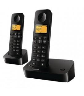 2 teléfonos inalámbricos Philips D2002B/23 color negro